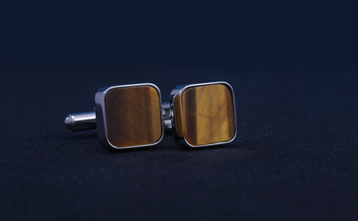 Silver/Brown Cufflinks