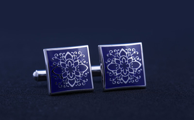 Silver/Blue Designed Square Cufflinks