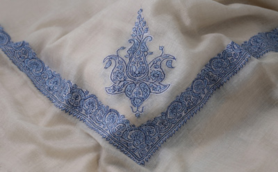 Swiss Coffee Embroidery Shawl